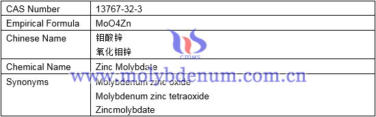 empirical formula, chemical name, synonyms of zinc molybdate image